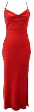 Taylor Fitted Cowlneck Crepe Gown