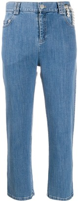 Act N°1 Mid Rise Cropped Embellished Jeans