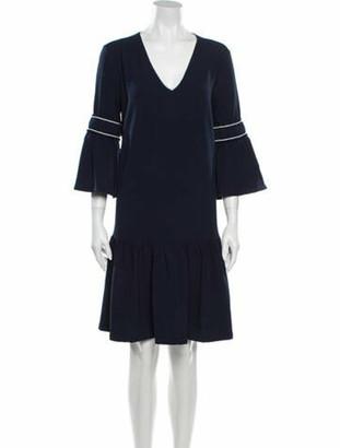 Ganni V-Neck Mini Dress Blue