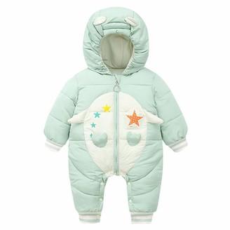 WonderBabe Unisex Baby Infant One Piece Winter Warm Snowsuit with Hood Gloves Zipper Toddler Romper Jumpsuit Sleepsuit