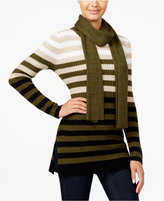 Hooked Up by IOT Juniors' Ombre-Striped Tunic Sweater with Scarf