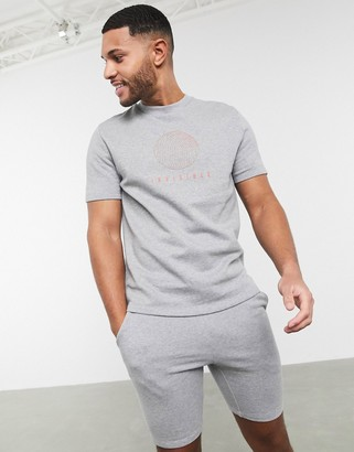 ASOS DESIGN co-ord short sleeve sweatshirt in grey marl with text print