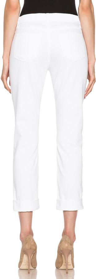 J Brand Johanna Embroidered Boyfriend in White