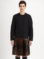Marni Nutria Fur-Paneled Wool-Blend Coat