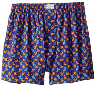 Happy Socks Hamburger Boxer (Blue) Men's Underwear