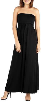 24/7 Comfort Apparel 24/7 Comfort Dresses Empire Waist Strapless Maxi Dress