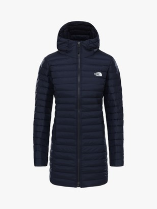 The North Face Stretch Down Women's Long Hooded Jacket, Aviator Navy