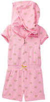 Juicy Couture Heart Glitter Print Hooded Terry Romper (Little Girls)