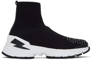 Neil Barrett Black and White Molecular Knit Sock Sneakers
