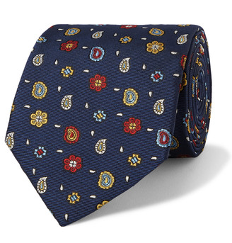 Etro 8cm Embroidered Silk-Faille Tie