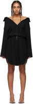 Alexander Wang Black Shrugged Off Shirt Dress