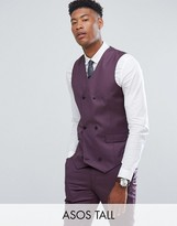 Asos TALL Skinny Suit Vest in 100% Wool In Dusky Purple