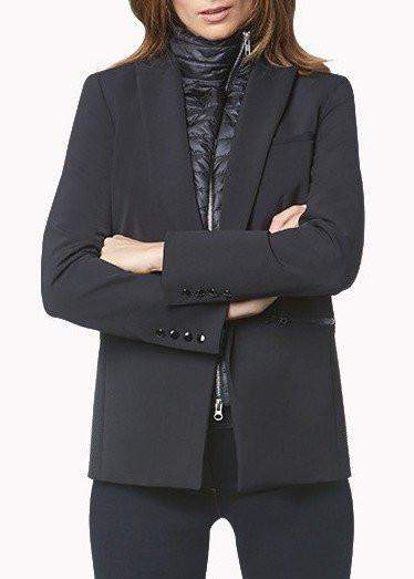 Veronica Beard Black Long And Lean Jacket With Black Quilted Funnel Dickey