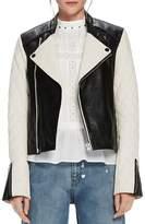 Scotch & Soda Color-Block Leather Biker Jacket