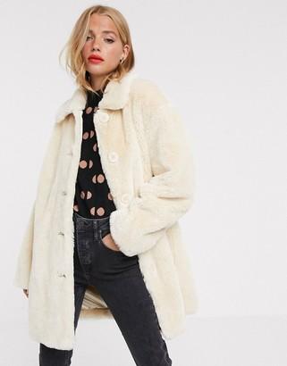 Asos Design DESIGN faux fur button through coat in cream