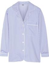 Bodas Striped Seersucker Cotton Pajama Top