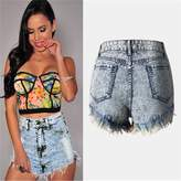 Qiyuxow Blue Ice Women's Juniors Cats Whisker High Waisted Jeans Shorts (XL, )