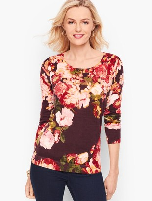 Talbots Gathered Shoulder Merino Sweater - Floral