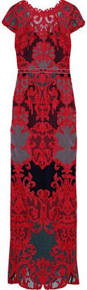 Marchesa Open-back Guipure Lace Gown