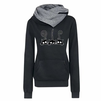 YEBIRAL Pullover Hoodie for Women Sweatshirts Plus Size Casual Cat Printing Long Sleeve Shirts Tops Blouse Black
