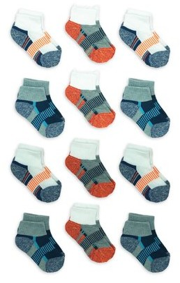 Athletic Works Boys Socks, 12 Pack Ankle Half Cushioned, Sizes S-L