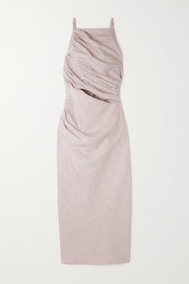 Jacquemus Cutout Cotton And Linen-blend Midi Dress - Lilac
