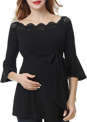Kimi & Kai Melisende Lace-Trim Belted Maternity Top
