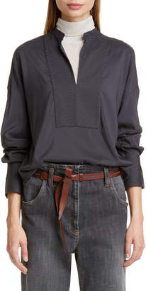 Brunello Cucinelli Chevron Monili Bib Silk Blouse
