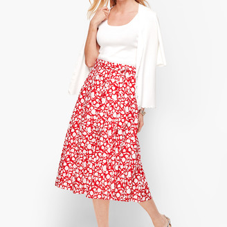 Talbots Pleated Floral Midi Skirt