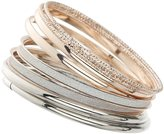 Apricot Rose Gold Glitter & Silver Luxe Stacking Bangles