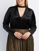Charlotte Russe Plus Size Velvet Mock Neck Bodysuit