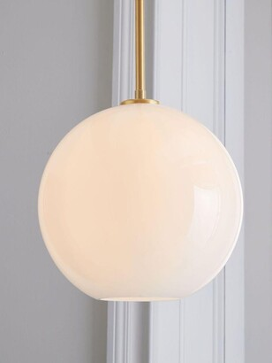 west elm Sculptural Milk Glass Globe Ceiling Light, White