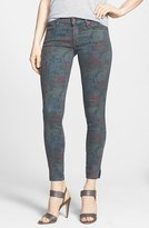 Mother 'The Vamp' Floral Crop Skinny Jeans (Ghost and Roses)