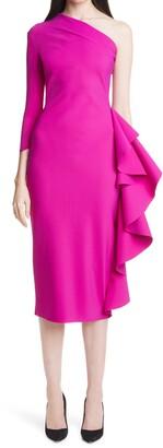 Chiara Boni Sia Ruffle One-Shoulder Cocktail Dress