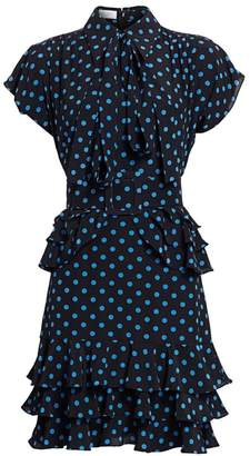 Michael Kors Ruffle-Trimmed Polka Dot Silk Dress