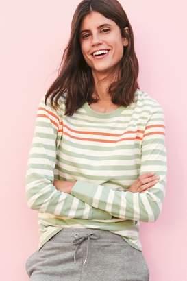 Next Womens Green/White Stripe Long Sleeve Slub T-Shirt - Green