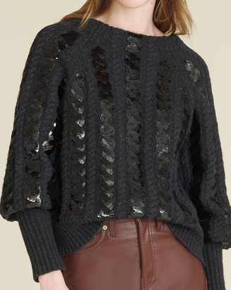Veronica Beard Yola Sequin Cable-Knit Pullover