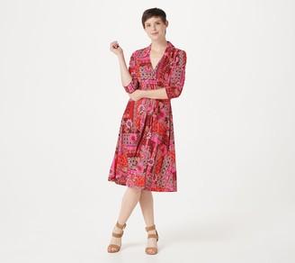 Isaac Mizrahi Live! Patchwork Printed Ponte Knit Faux Wrap Dress
