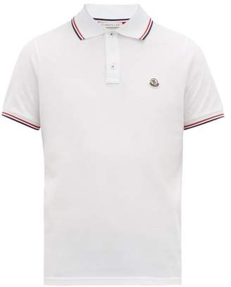 Moncler Tricolour-trimmed Cotton-pique Polo Shirt - Mens - White