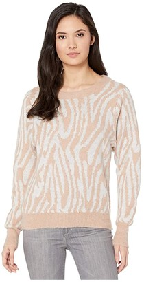 Rebecca Taylor Tiger Stripe Pullover (Grey/Camel) Women's Clothing