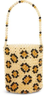 Susan Alexandra Leopard Beaded Bucket Bag