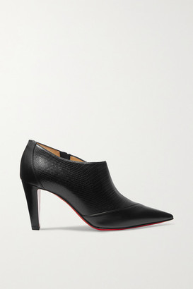 Christian Louboutin 80 Paneled Smooth And Lizard-effect Leather Ankle Boots - Black