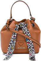 Love Moschino bucket bag with printed scarf fastening