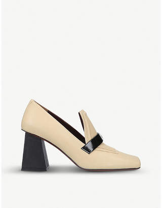 Atelier Manu Square-toed leather heeled loafers