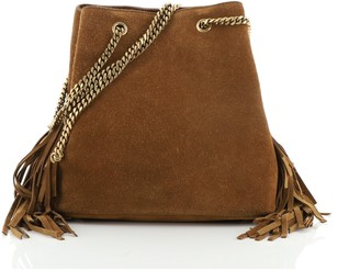 Saint Laurent Emmanuelle Chain Bucket Bag Fringe Suede Small