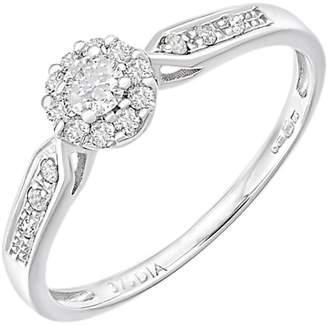 Mogul 9ct White Gold Halo Diamond Engagement Ring, 0.25ct