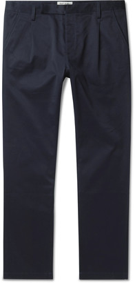 Saint Laurent Tapered Cotton-Blend Twill Chinos - Men - Blue