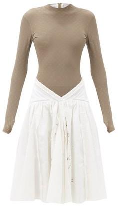 Marine Serre Psychedelic Moon-print Jersey Unitard Dress - White Multi