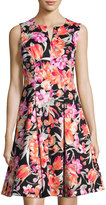 Chetta B Floral-Print Split-Neck Sleeveless A-line Dress, Black Pattern