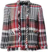 Oscar de la Renta tweed plaid jacket with frayed edges